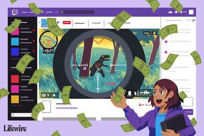 Illustration of a person holding a gaming console in front of a huge Twitch screen with money floating through the air