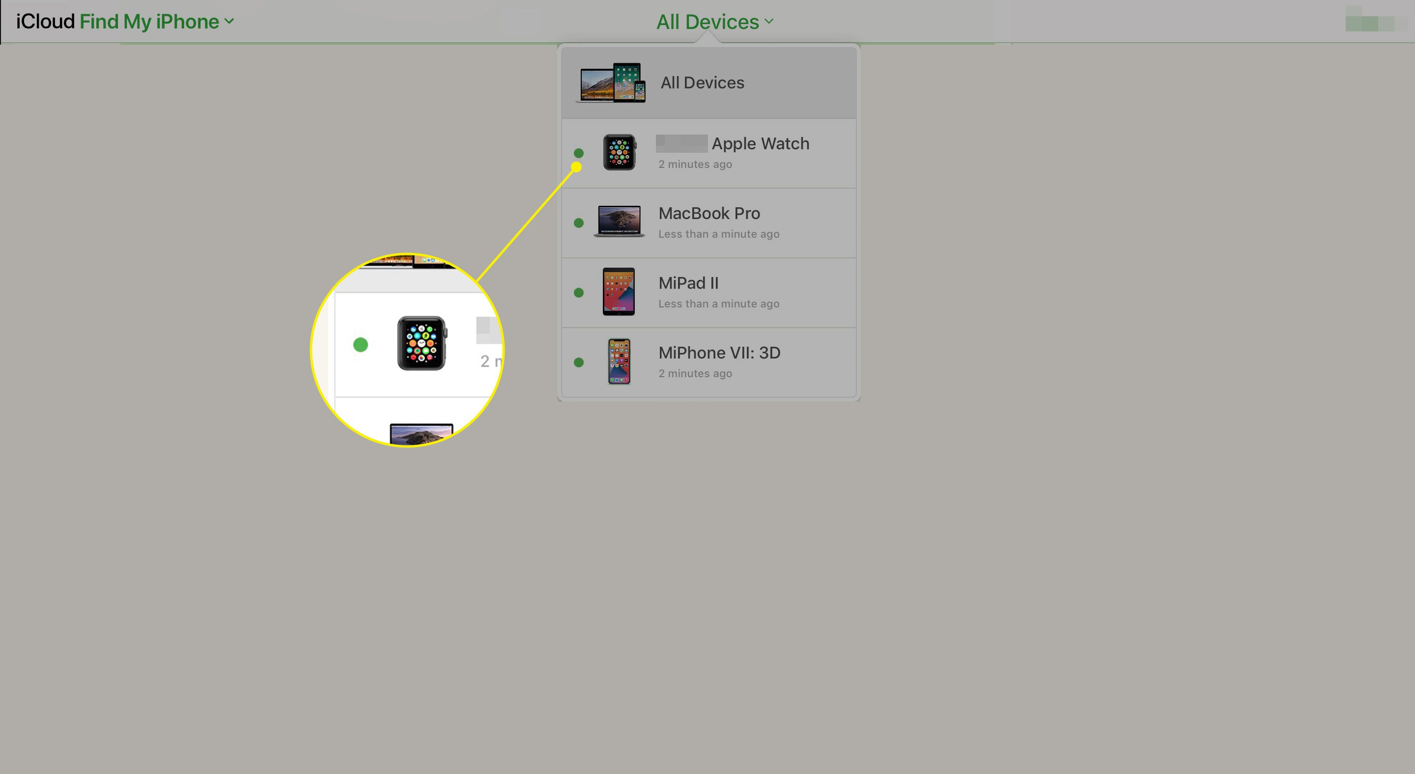 An Apple Watch in the All Devices menu on iCloud