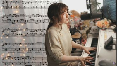 Pianist Hakumai on her piano with a music sheet background