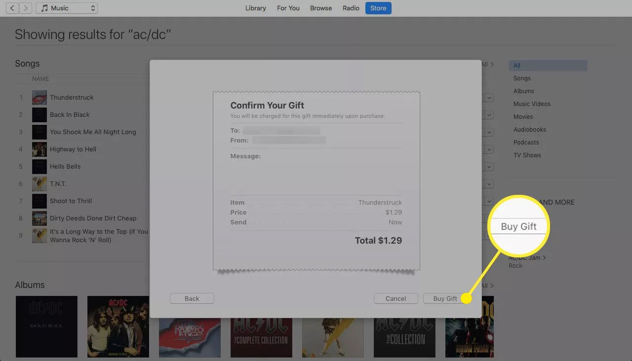 Confirm Your Gift screen in iTunes