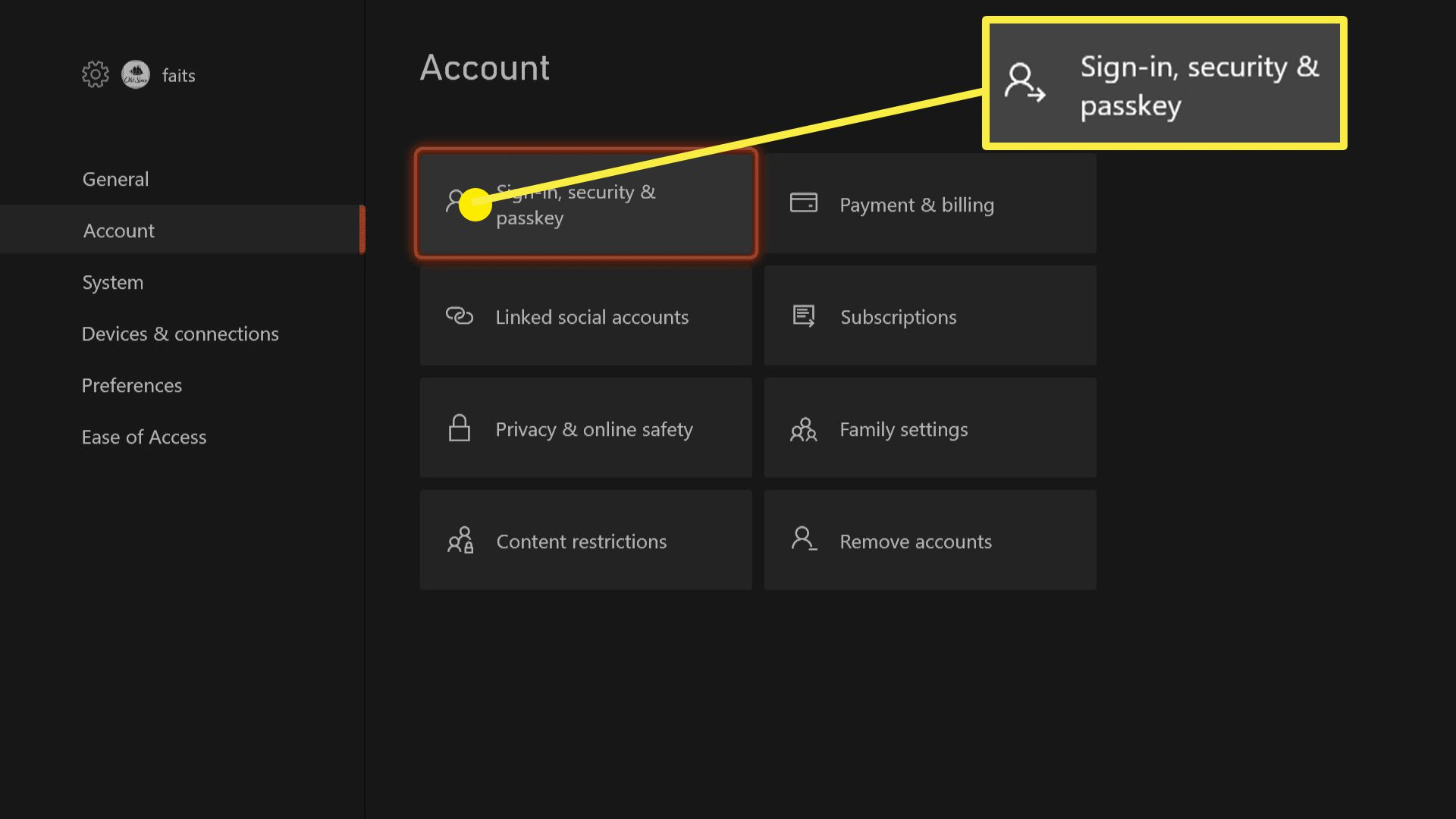 The account menu on Xbox Series X|S.