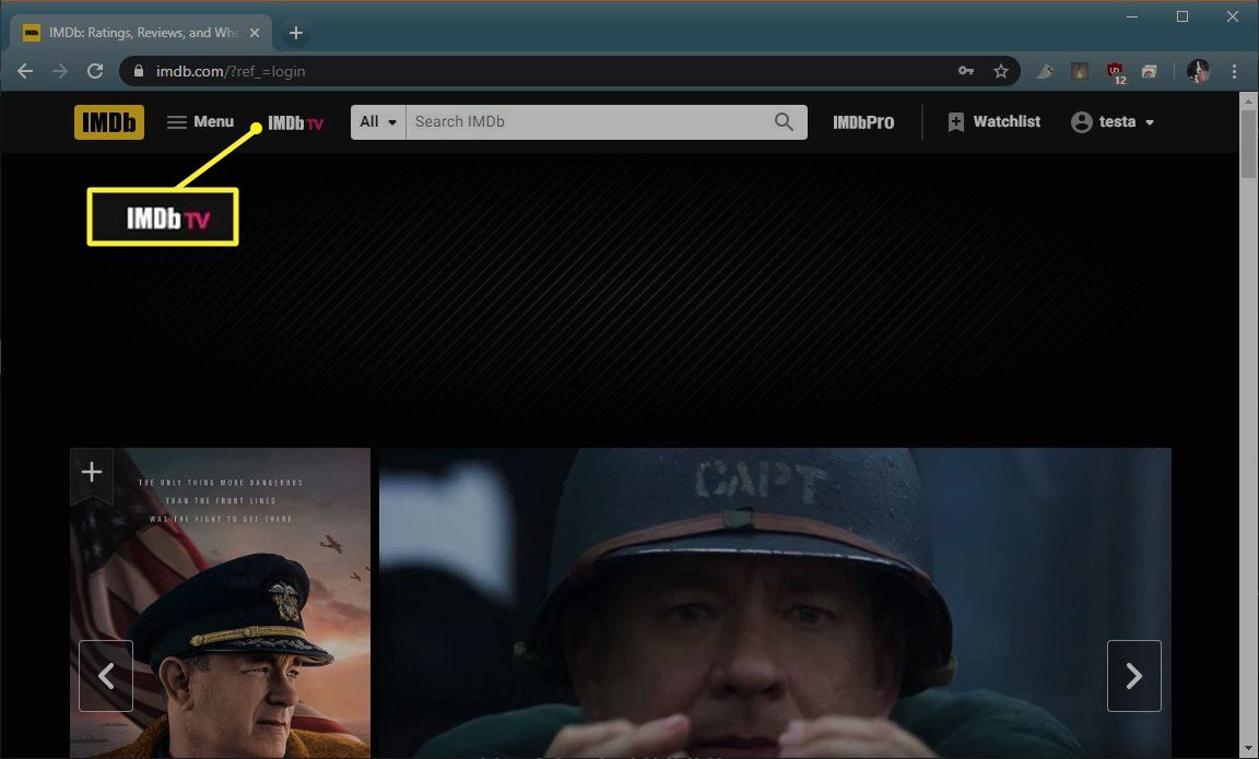 IMDB tv in upper left corner