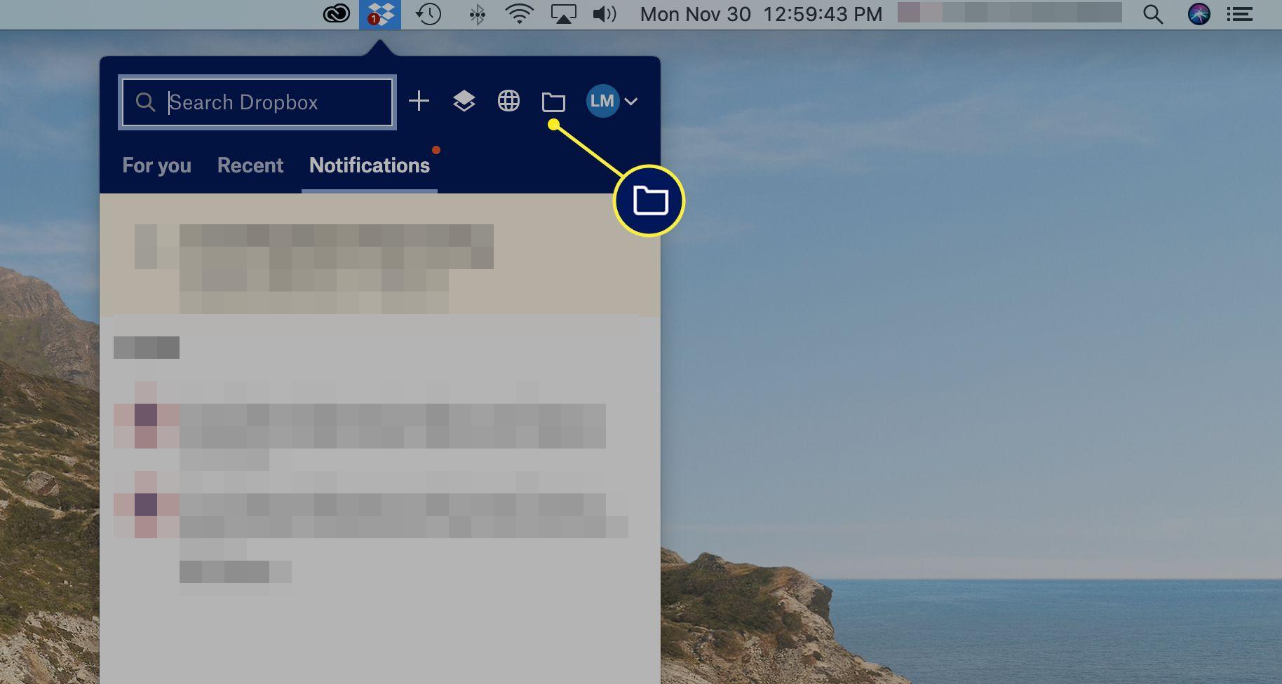 Folder selected in Dropbox screen