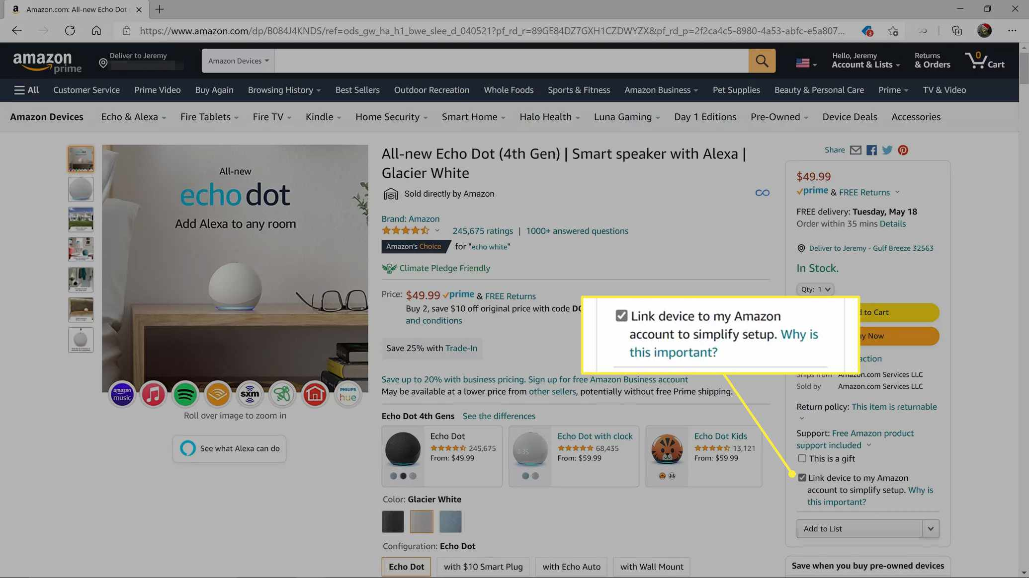 Link device to my Amazon account to simplify setup highlighted on an Echo Dot listing on Amazon.