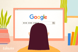 An illustration of a person using Google on a computer screen to search for a phone number.