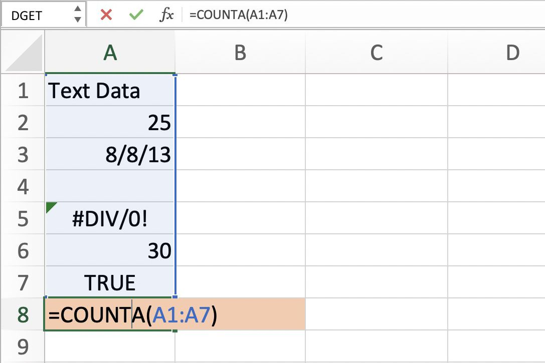 How to Count All Types of Data With COUNTA in Excel