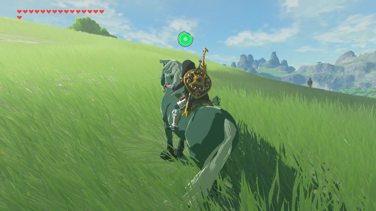 Soothing a wild horse in Zelda: Breath of the Wild.