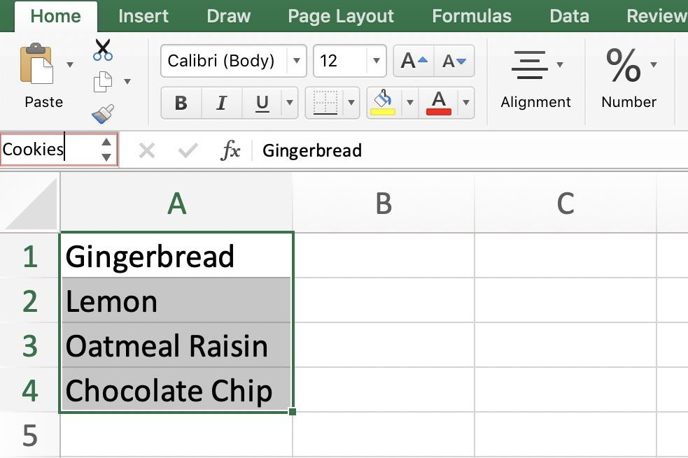 Excel spreadsheet containing a named range.