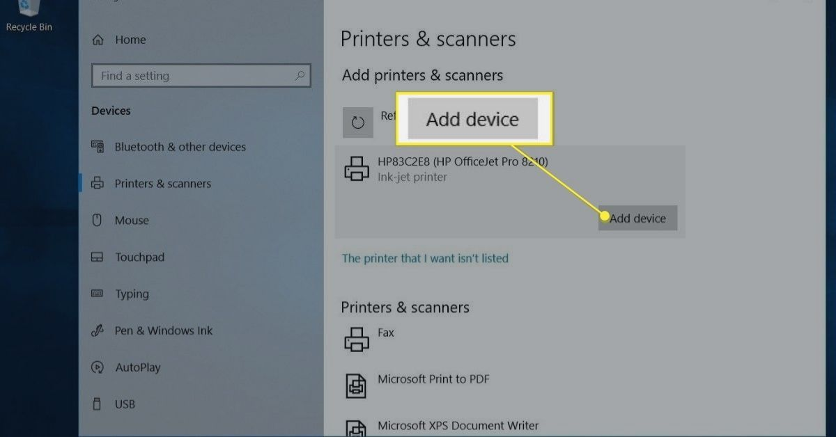 Add device button in Printers & scanners