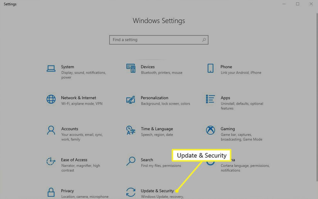 Windows Settings with Updates & Security highlighted