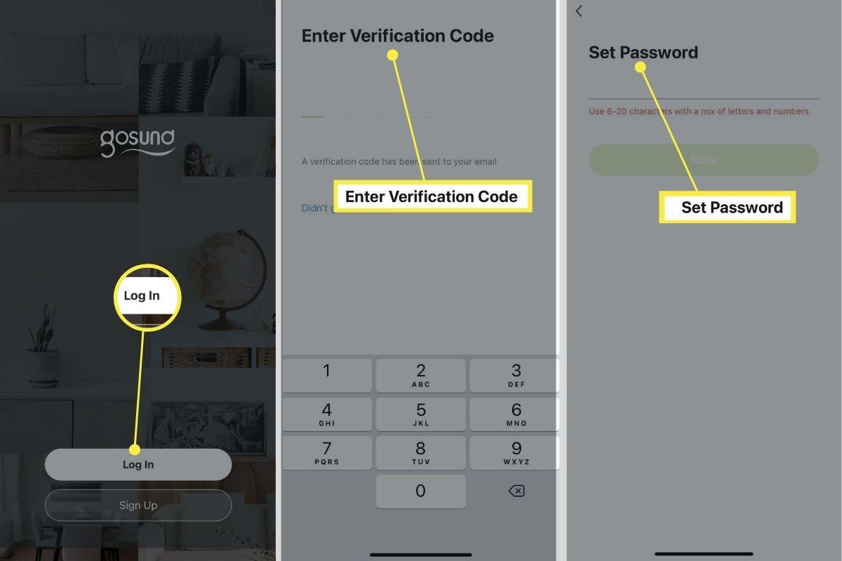 Log in, Verification Code, and Password setup on Gosund smart plug app.