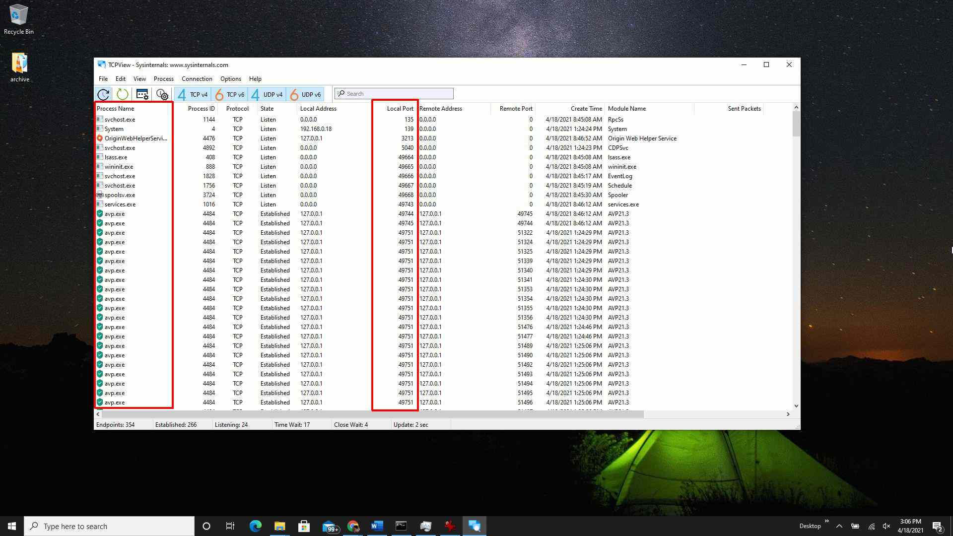 Screenshot of TCPView utility