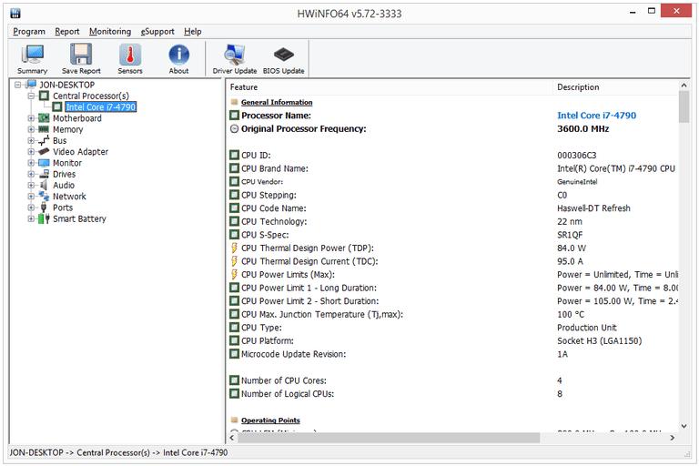 Screenshot of HWiNFO64 v5.72 in Windows 8