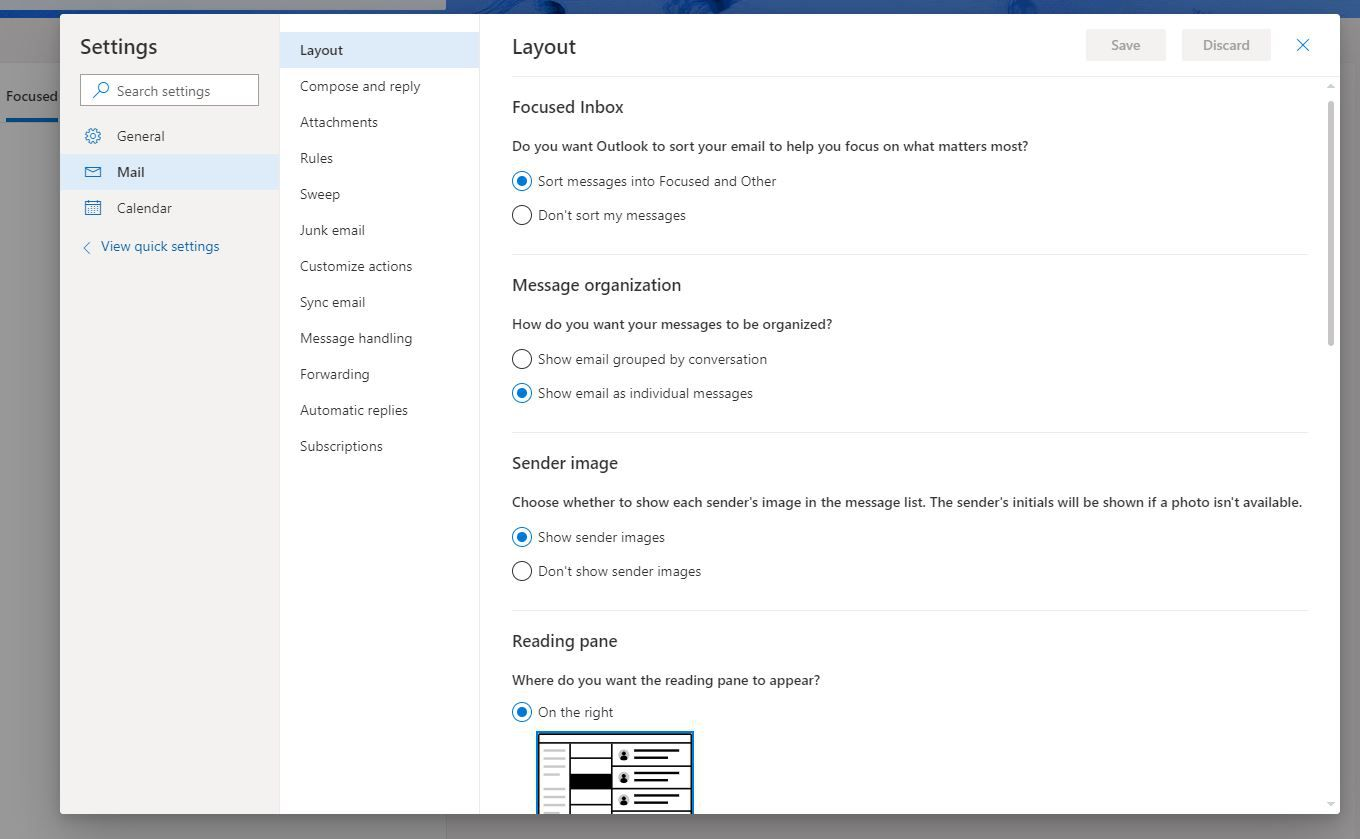 Mail tab in Outlook.com settings