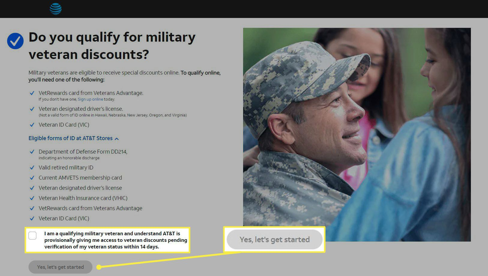 The AT&T veterans discount page showing the Yes, Let's get started button.