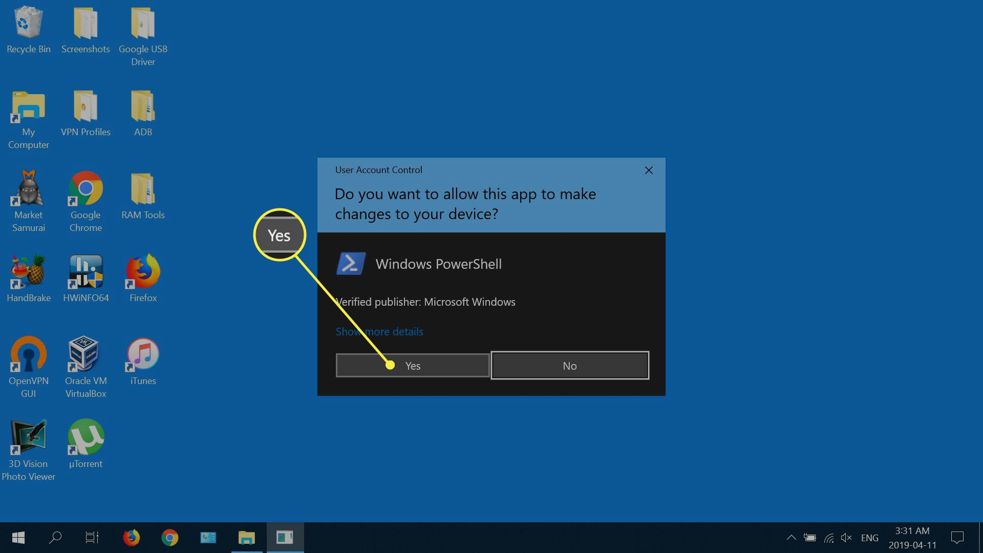 Select Yes when the UAC dialog appears.