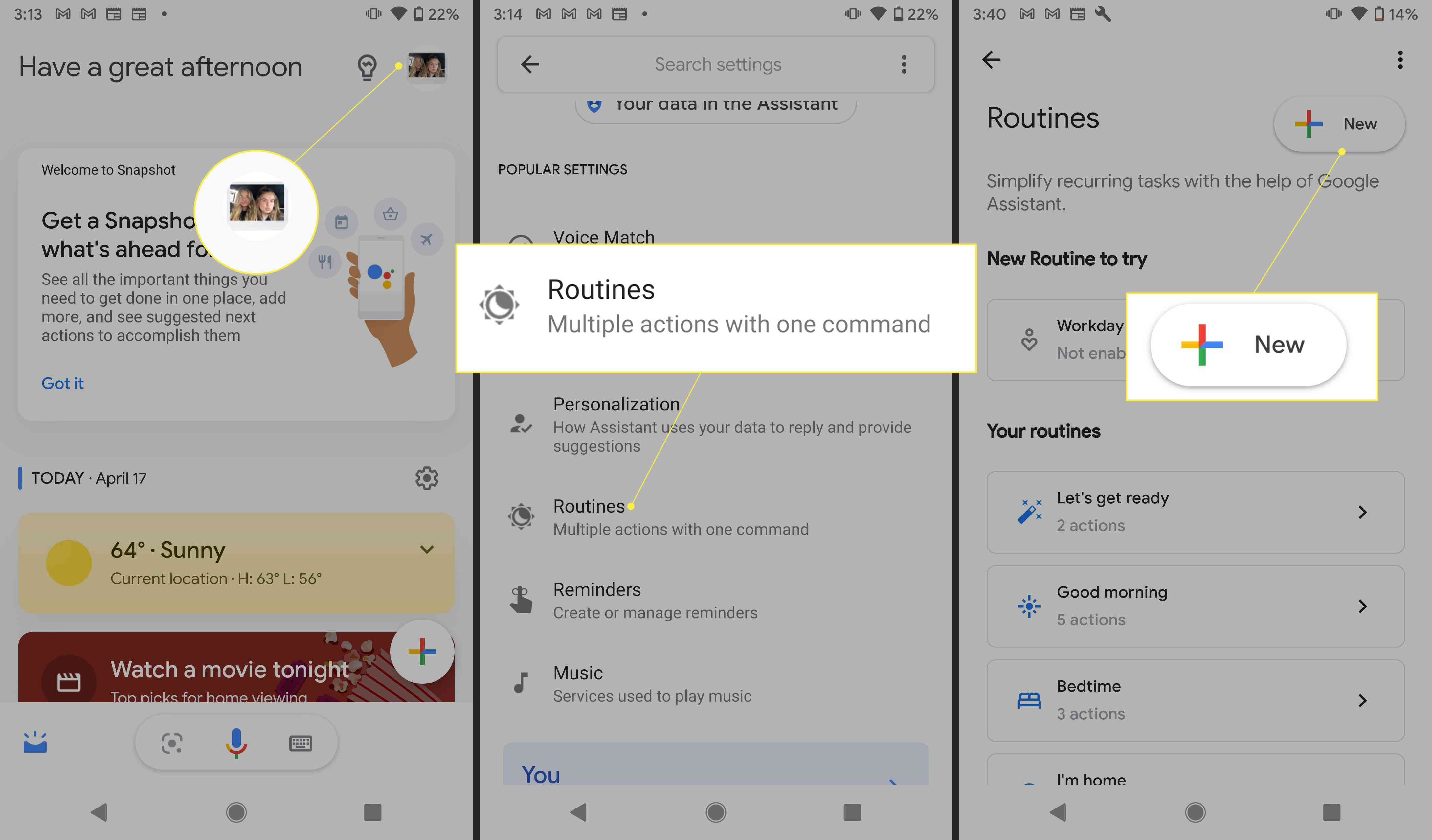 Google Assistant app with profile picture, routines, and New highlighted