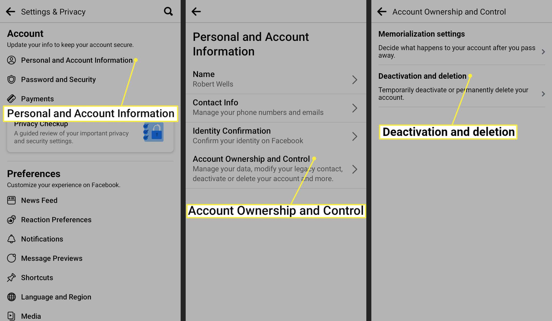 Personal and Account Information, Account Ownership and Control, and Deactivation and deletion on Facebook app