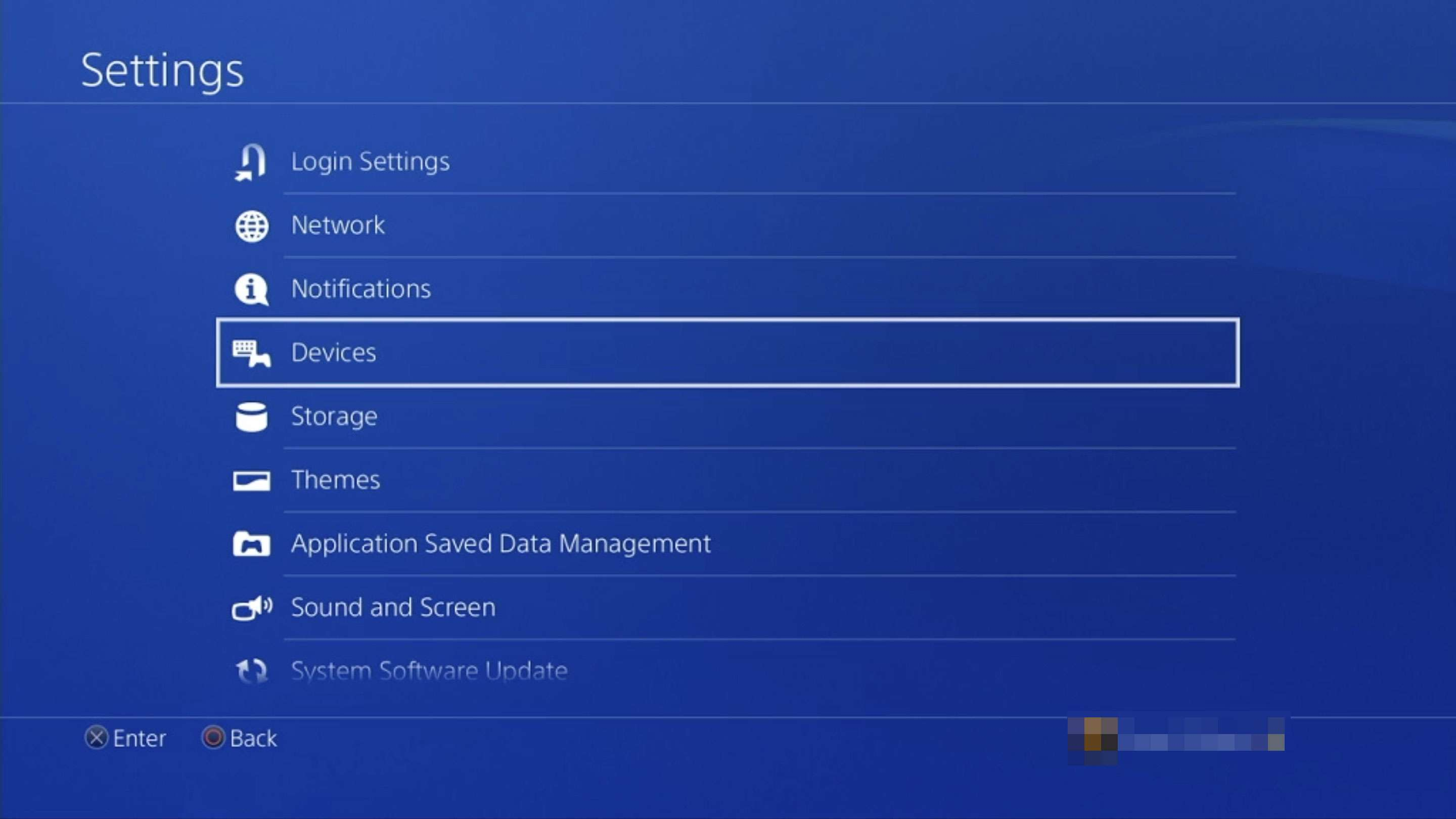Devices in PlayStation 4 settings