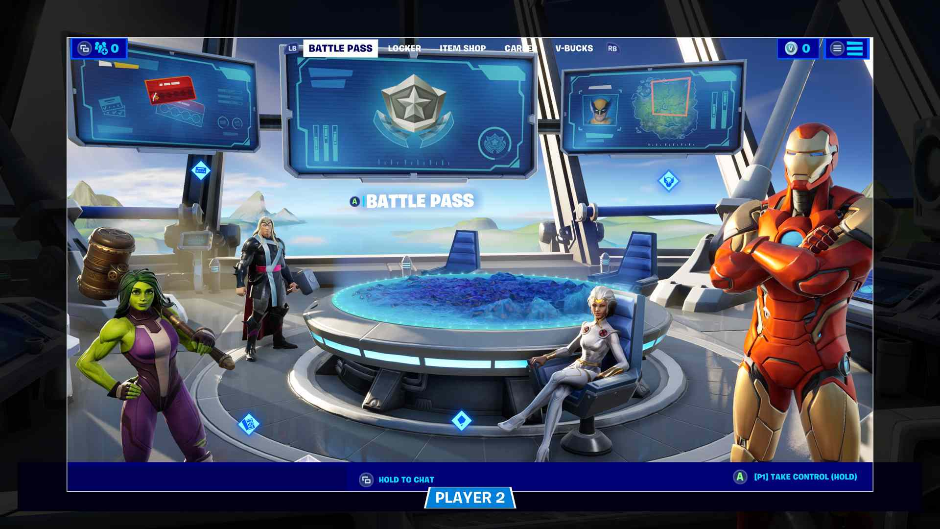 Player 2 using the menu in Fortnite.