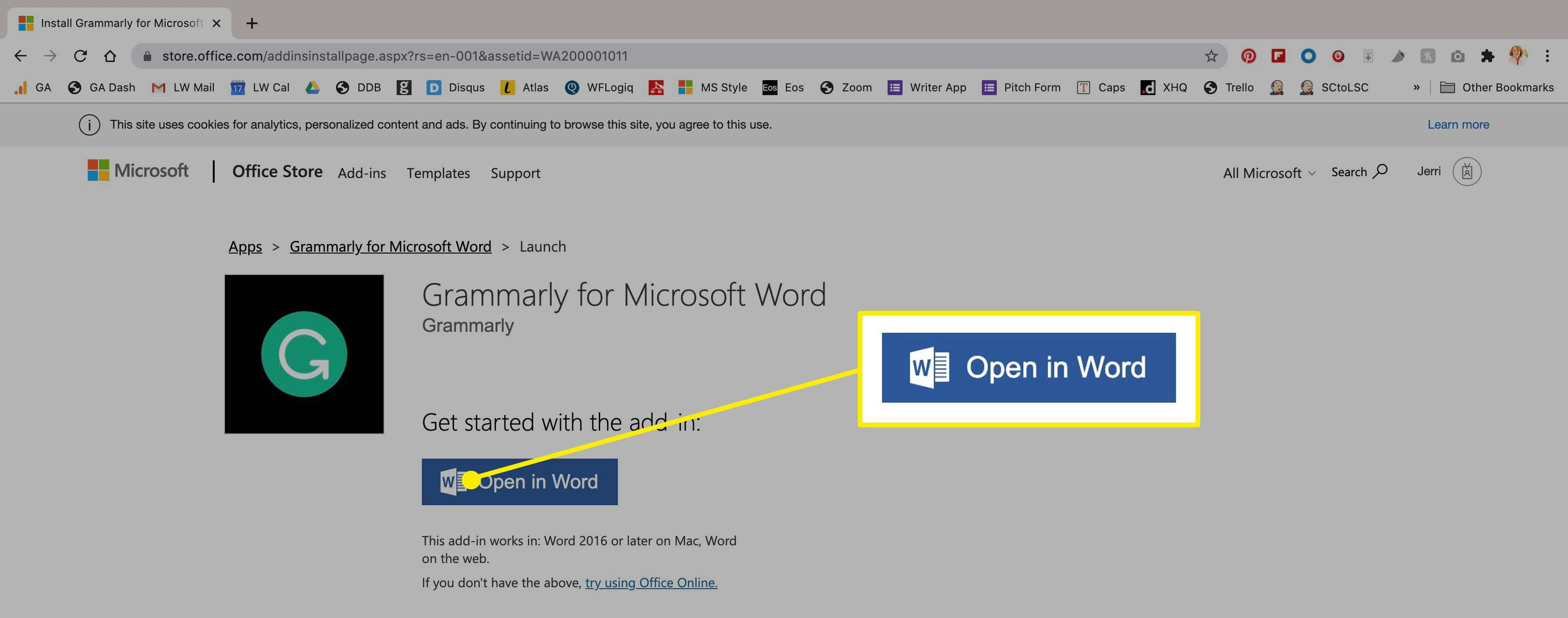 The open in Word option once Grammarly is installed.