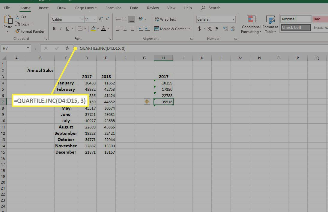 the formula =QUARTILE.INC(cell range, 3)