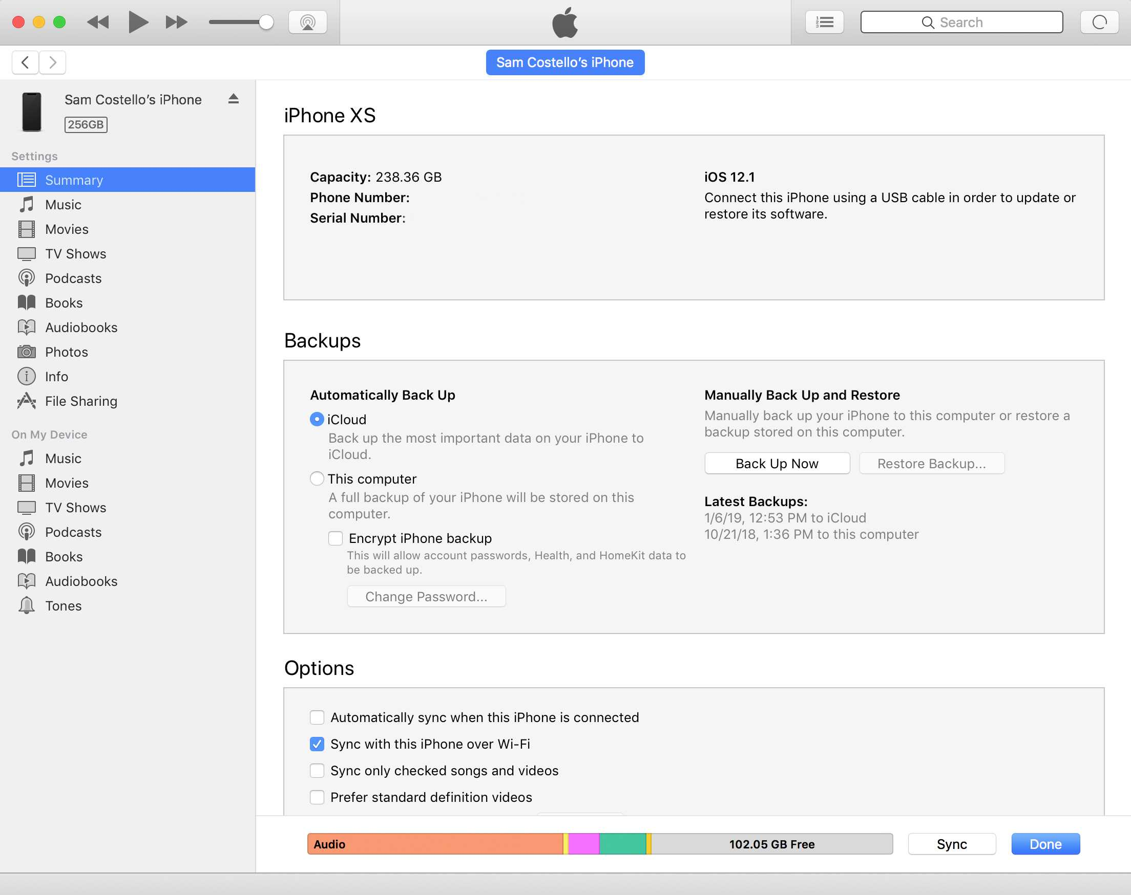 screenshot of backing up iphone using itunes