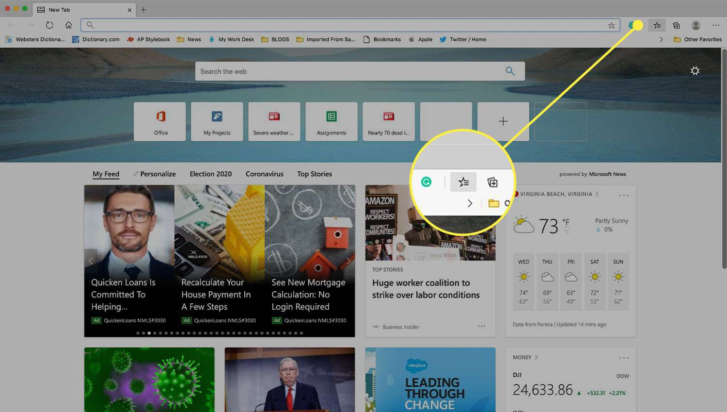 Edge browser window with the Favorites button highlighted