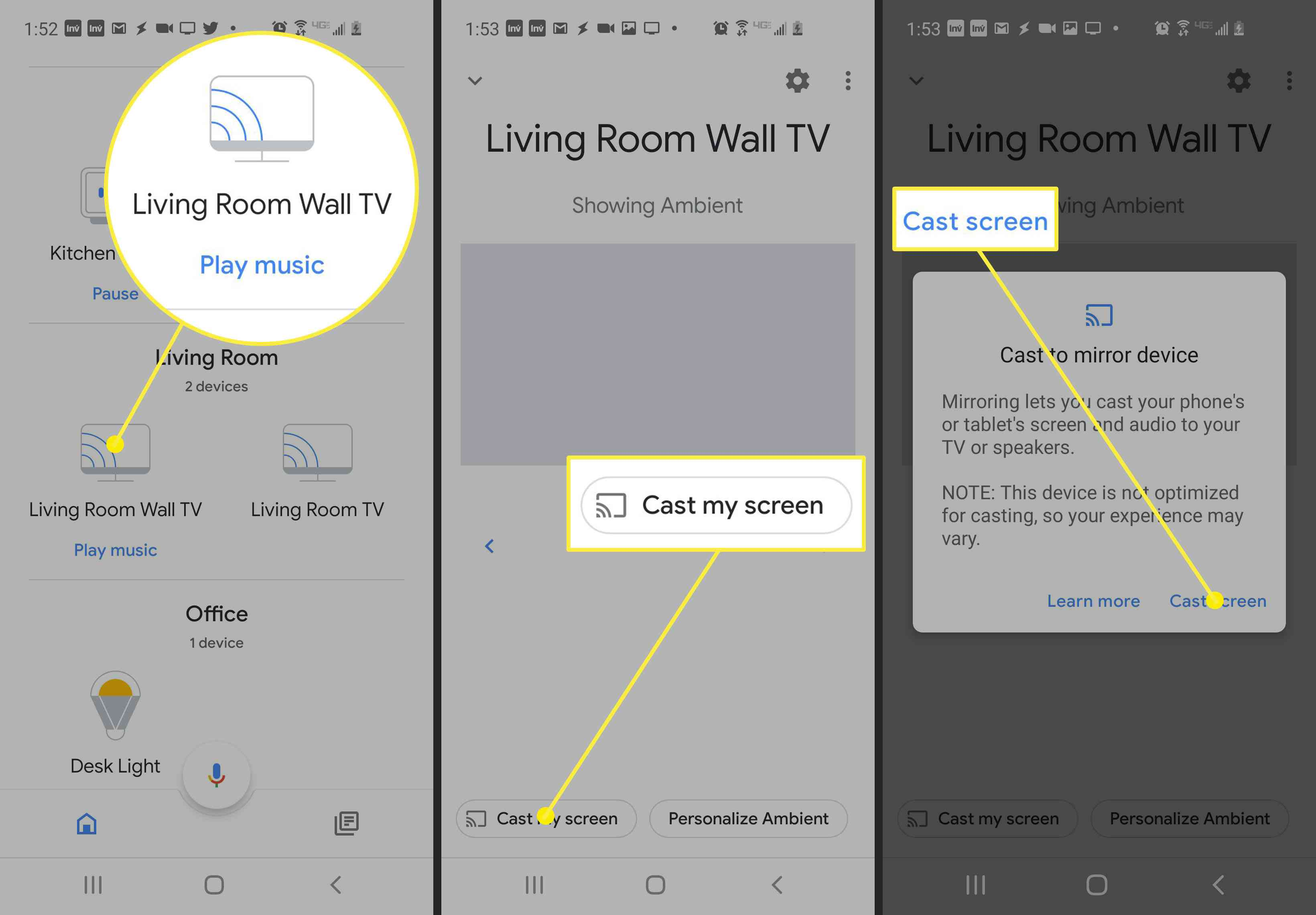 Screenshot of the steps to take to cast a screen on Google Home app.