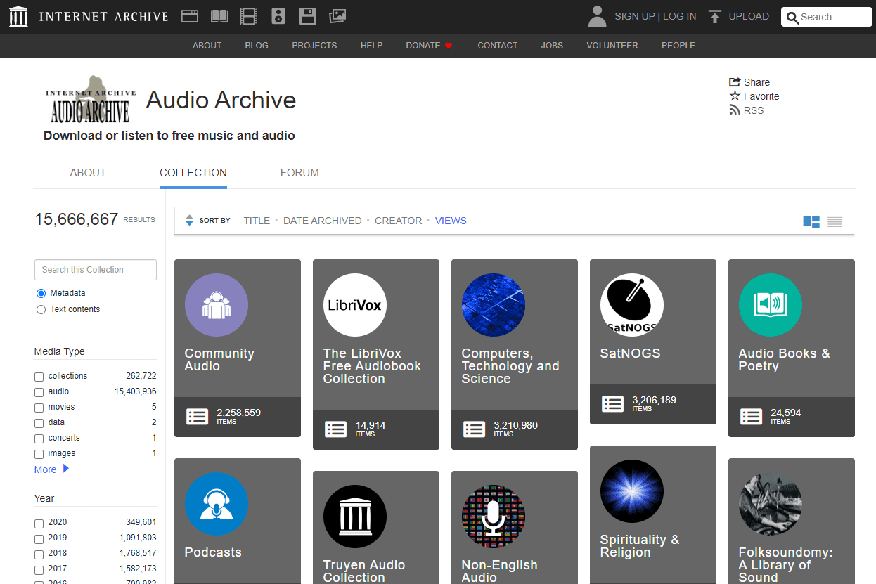 Screenshot of Internet Archive's Audio Archive page