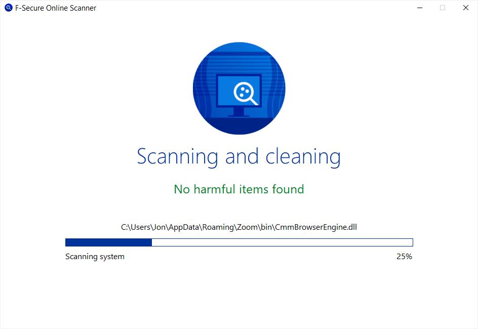 F-Secure Online Scanner in Windows 10