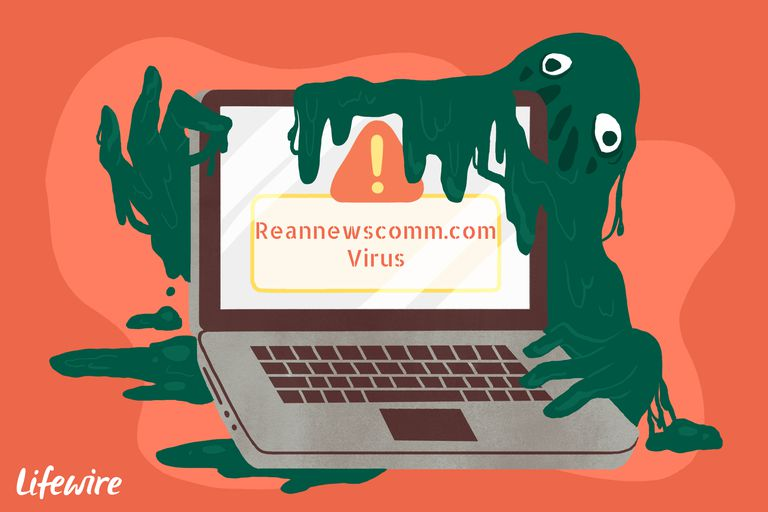 A conceptual illustration of the Reannewscomm.com virus destroying a laptop computer.