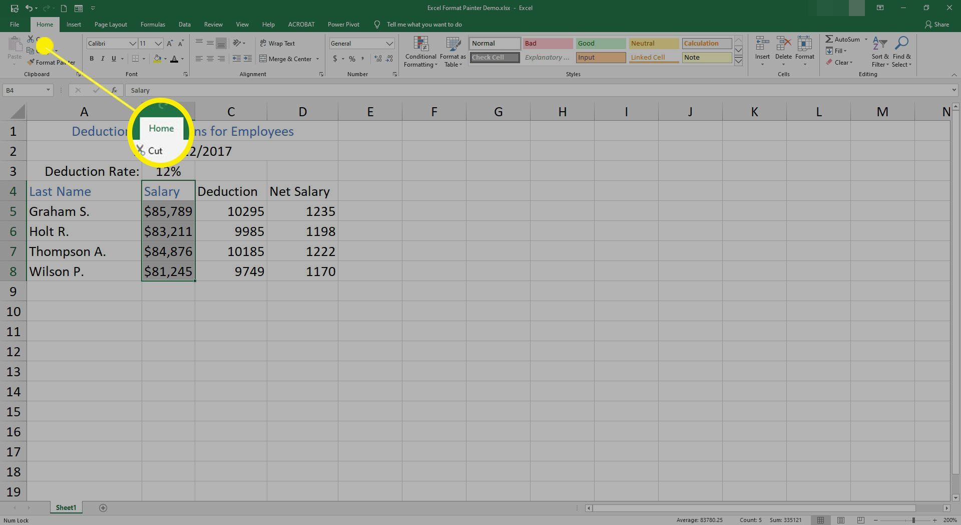 Selecting the Home tab in Excel.