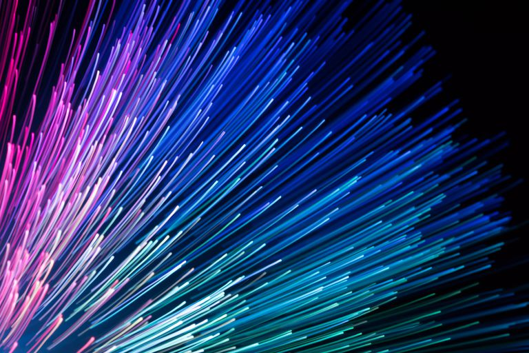 Fiber optic cables illuminated with color light