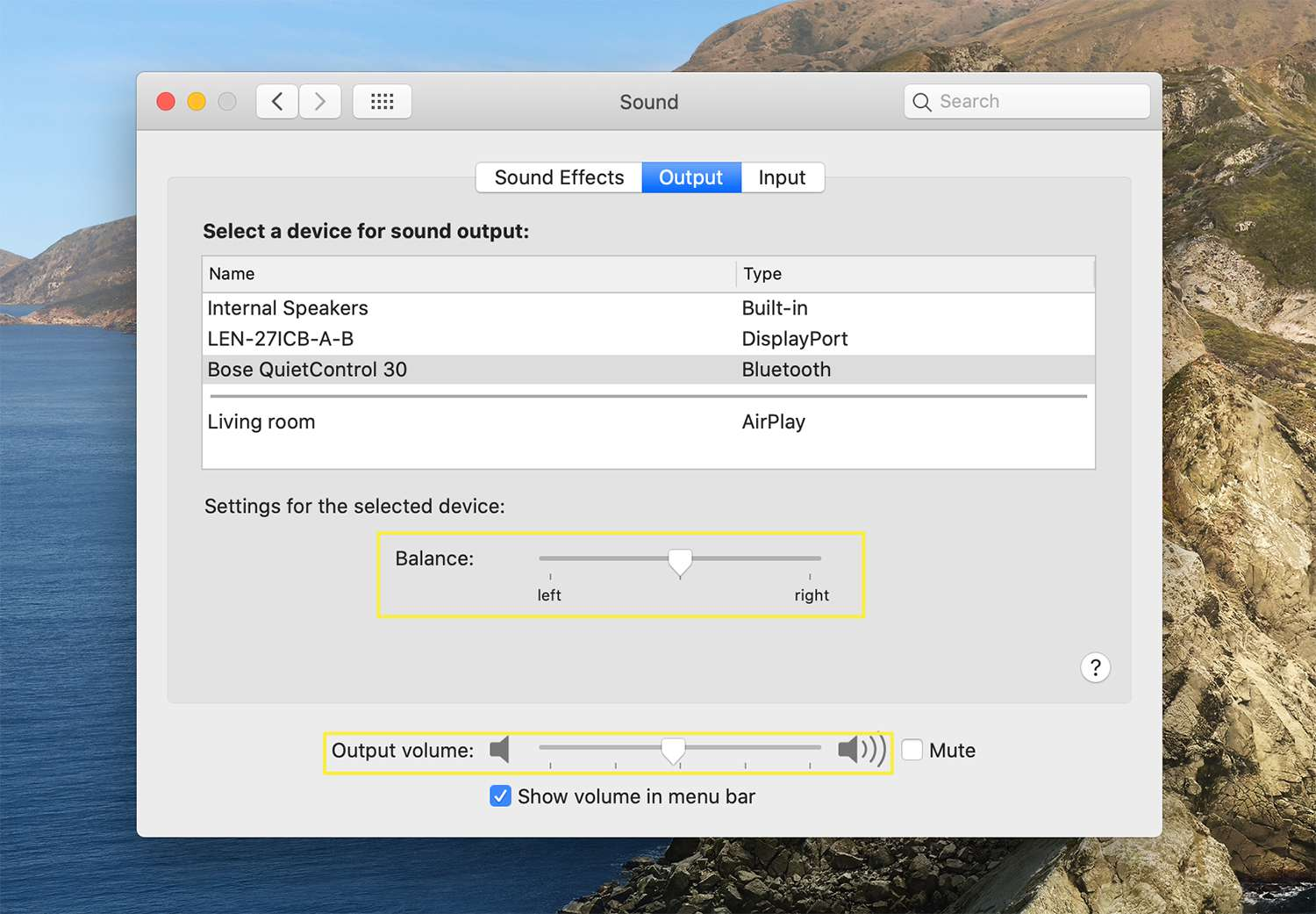 Output options for connected devices from macOS Sound settings