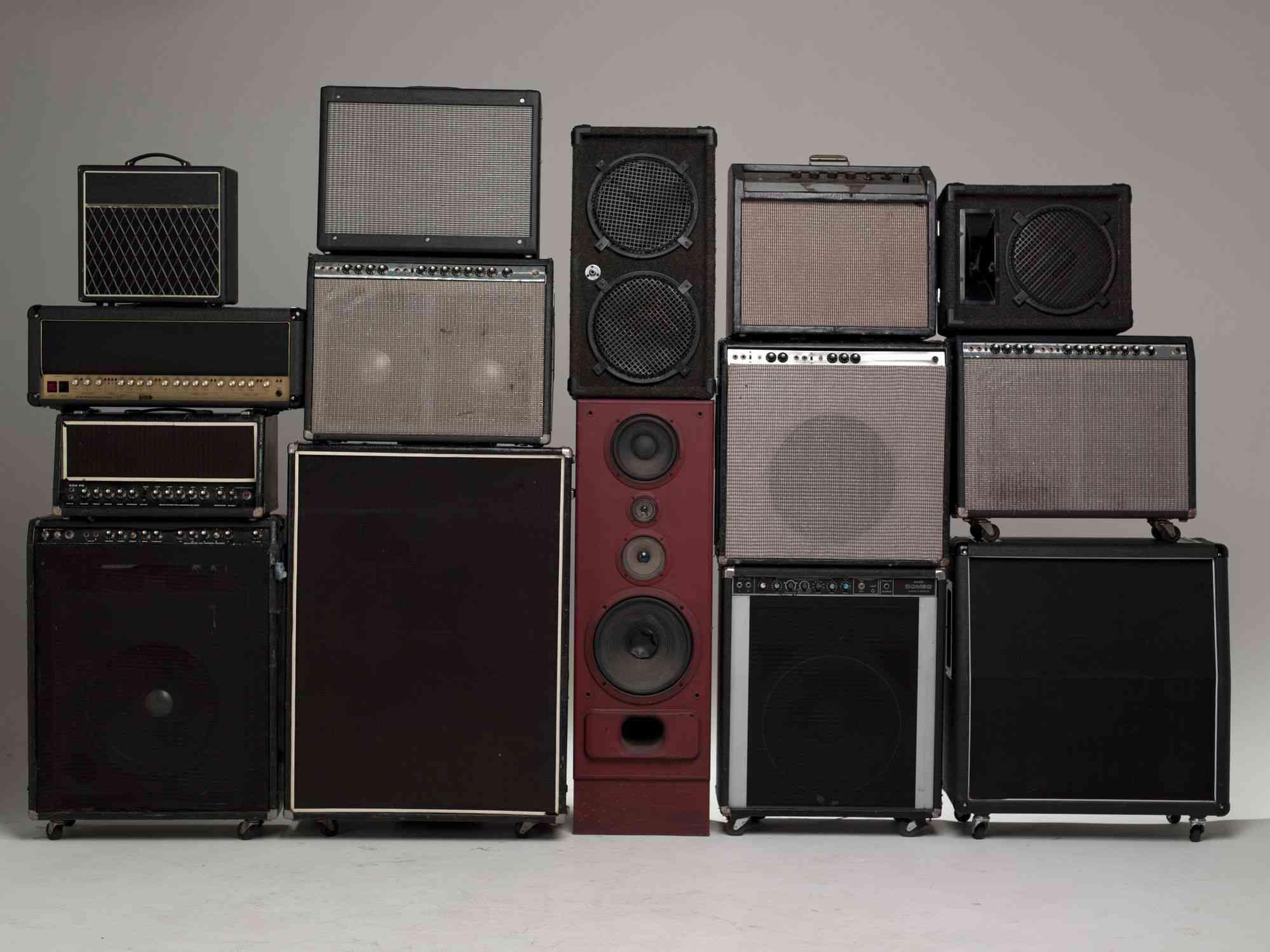 Stack of various speakers