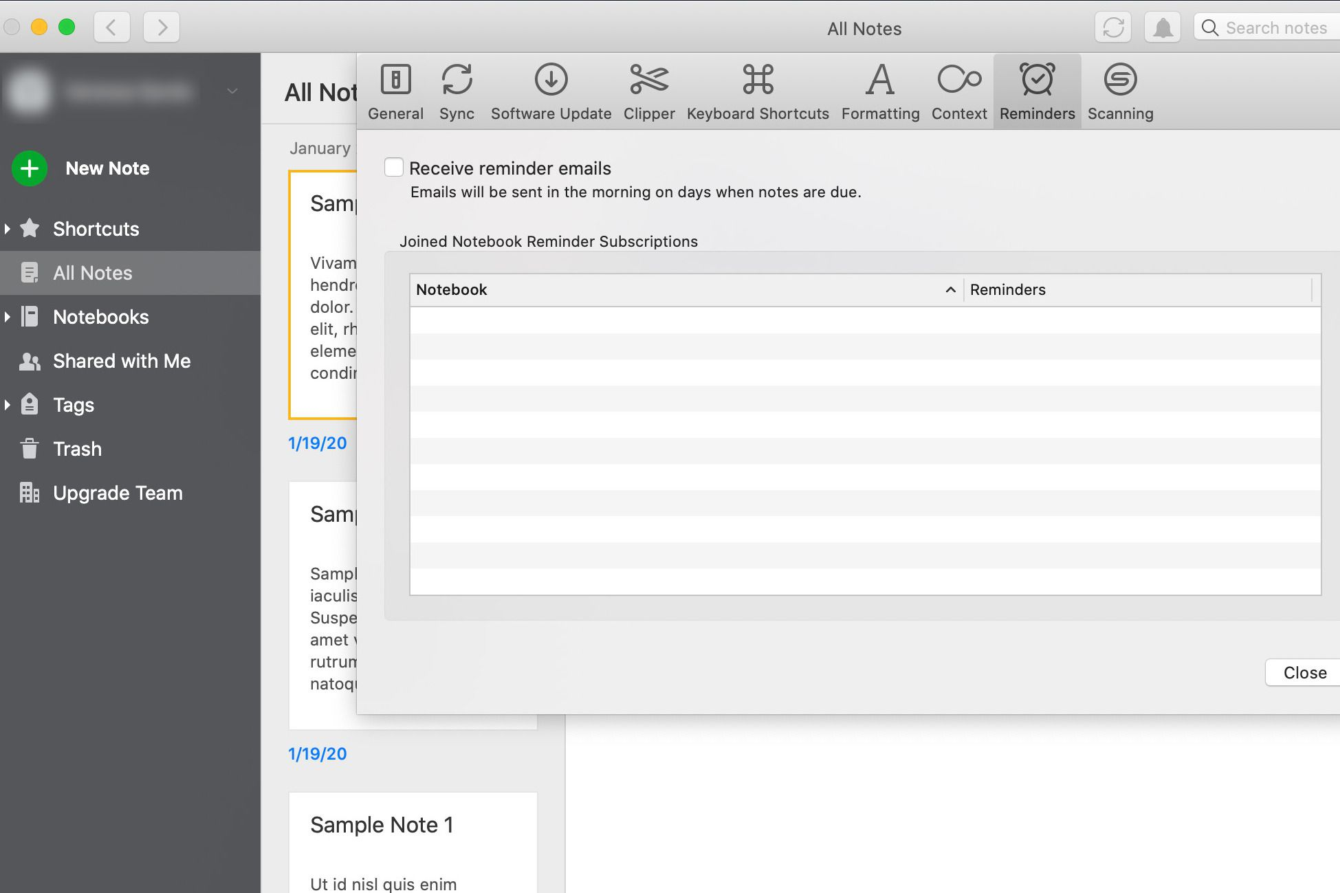 Get emailed reminders in Evernote