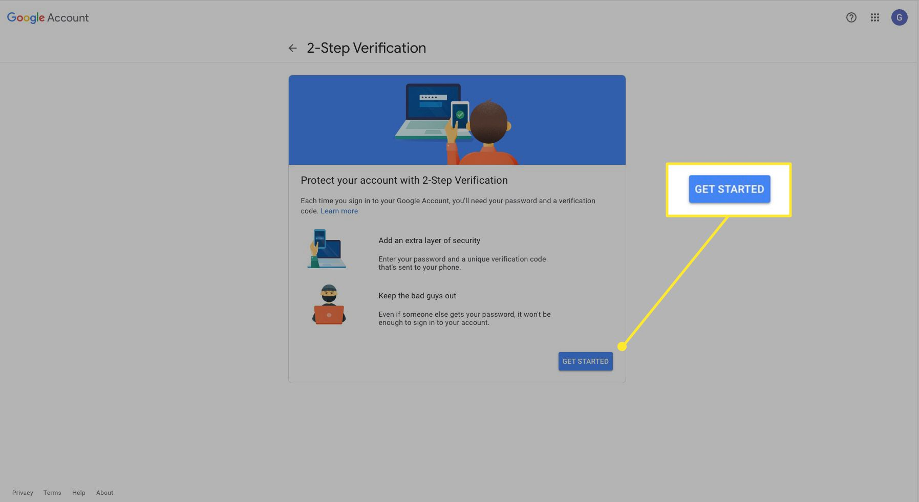Google 2-step verification screen with Get Started highlighted