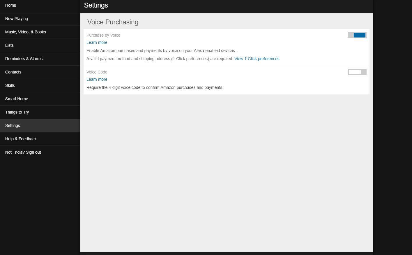Screenshot of Voice Purchasing