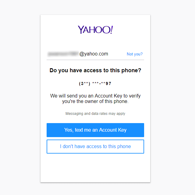 how to log into yahoo email without phone