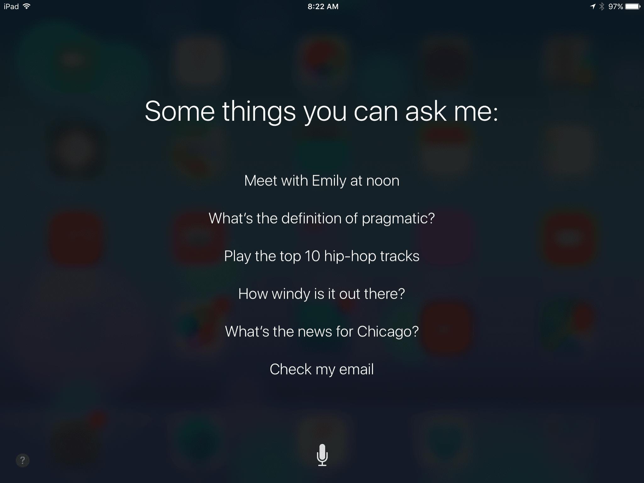 Siri's launch screen