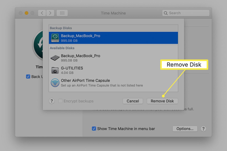 Time Machine preferences on a Mac