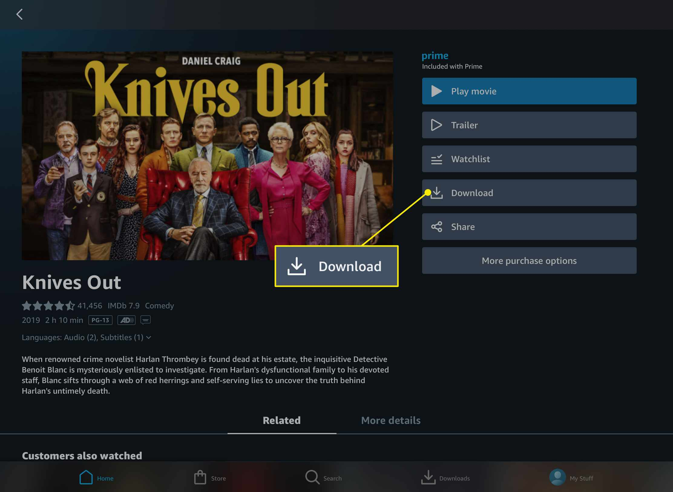 The Download button in the Amazon Prime Video app for iPad