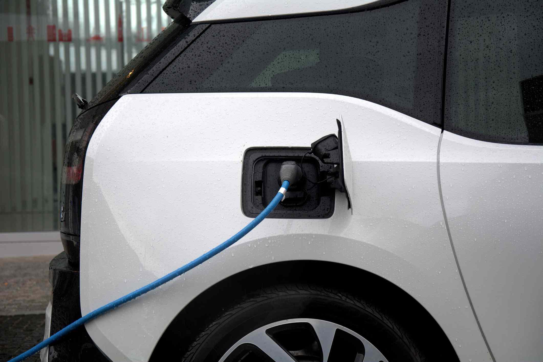 An electric vehicle recharging.