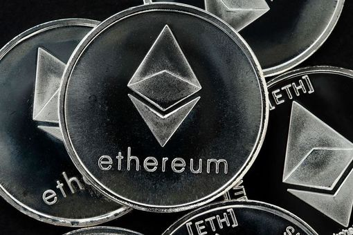 Artist rendering of Ethereum coins