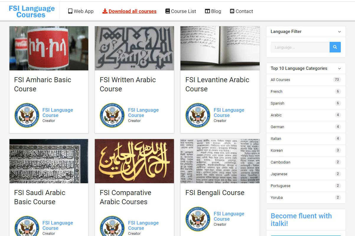 Screenshot of the FSI Language Courses website