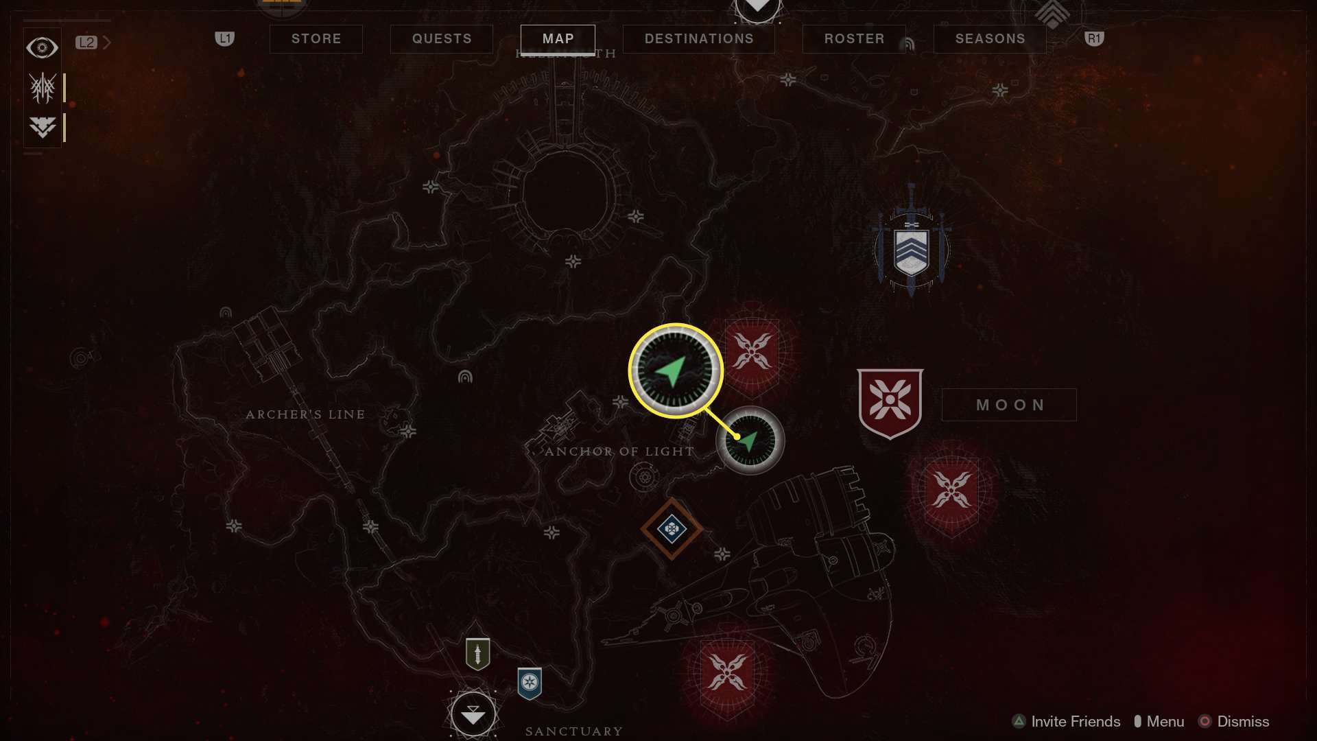 The Temple of Crota location on the map in Destiny 2
