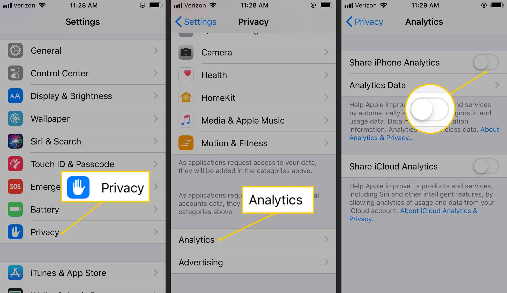 Privacy, Analytics, Share iPhone Analytics toggle to OFF