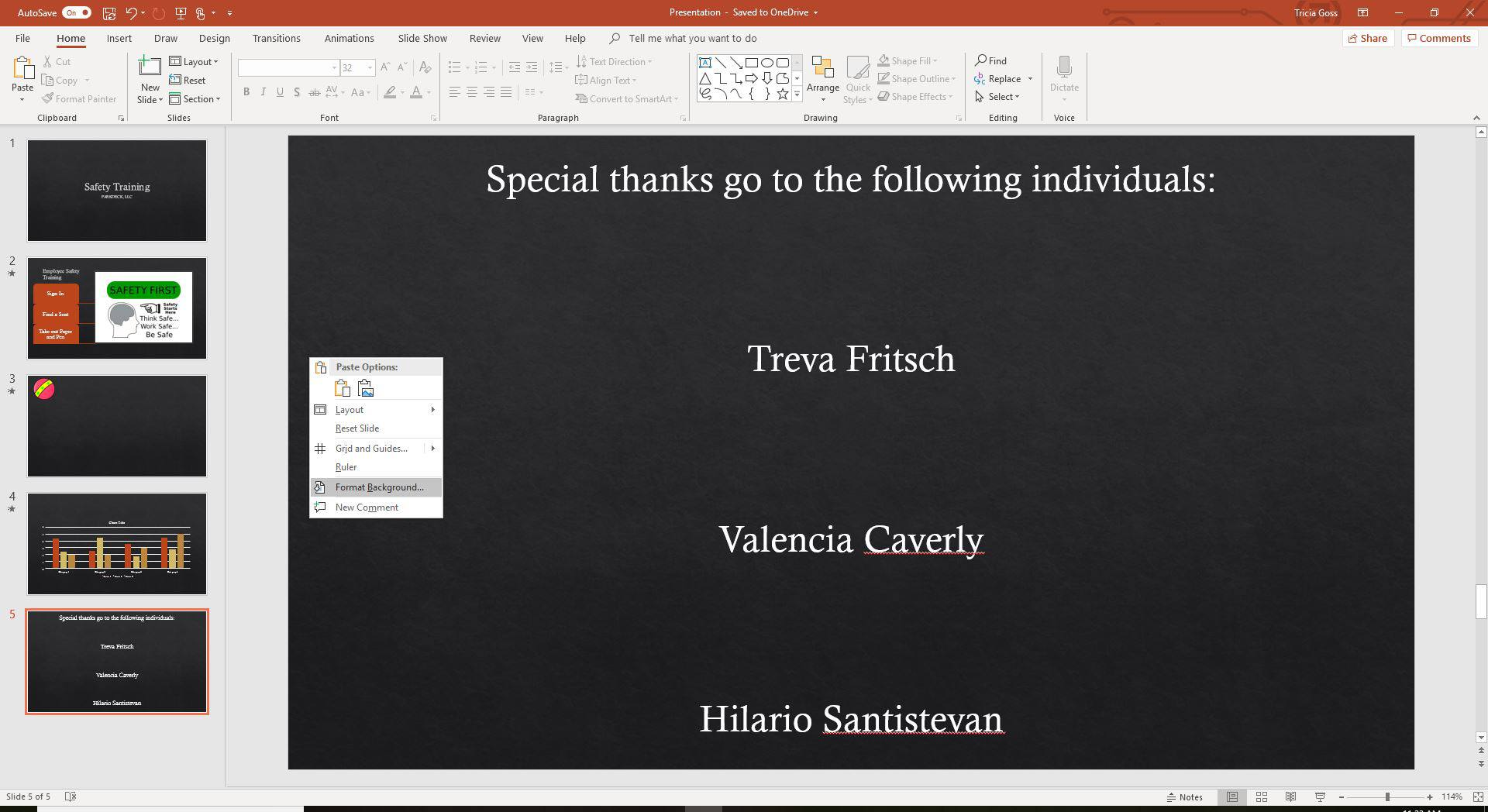 A screenshot of the formate background function in PowerPoint.