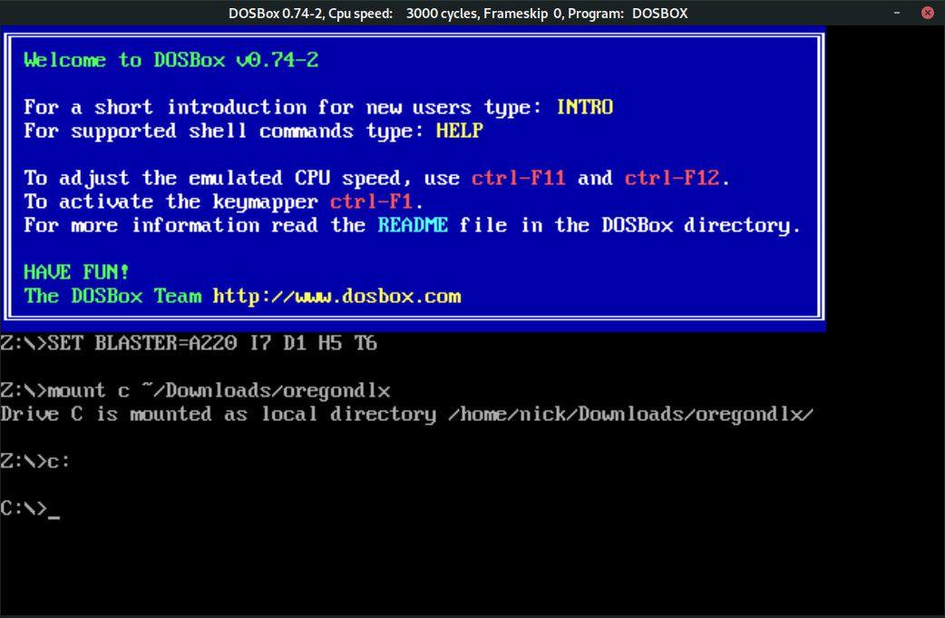 Change directories in DOSBox